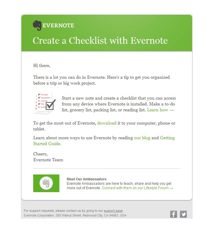 Welkomstmail Evernote